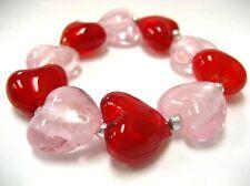 "Heart Bracelet Woman Stretch Bracelet Pink Red Glass Beaded Stretch 7.50"""