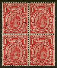 GB DOWNEY HEAD:1912 Die 2 1d scarlet inv wmk 'No Cross' SG N12(1)eb mint block