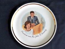 President and Mrs. John F. Kennedy Souvenir Plate 1960's White & Gold EUC
