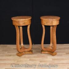 Pair Tall Art Deco Pedestal Side Tables 1920s Furniture
