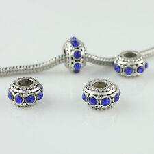 5 pieces Czech Crystal Tibetan Silver Rondelle Charm Beads for European Bracelet