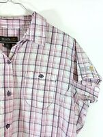 Regatta Women Shirt Casual Sz 20 3XL Pink Grey Plaid Hiking Outdoor Short Sleeve