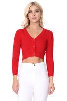 YEMAK Women's Cropped 3/4 Sleeve Button-Down Cardigan Sweater CO129PL (1X-4X)