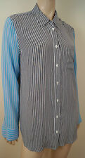 EQUIPMENT FEMME Blue Cream Stripe 100% Silk Collared Formal Evening Blouse Sz:M