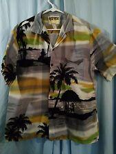 Honu Clothing Co. Retro Sunset Landscape Silhouette Hawaiian Aloha Shirt  L