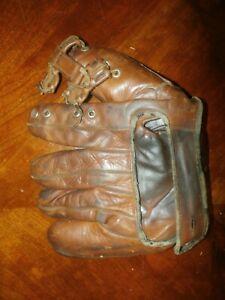 Vintage Antique Leather Baseball Glove Five Finger Mitt Goldsmith