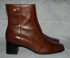 "Women's Brown Leather NATURALIZER Above Ankle Boots Heel 2.25"" Size 7.5 W GREAT"