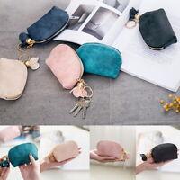 Women Portable Small Soft Leather Zipper Mini Wallet Coin Purse Key Clutch Bag #