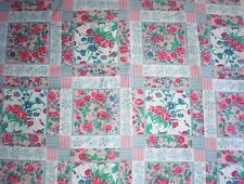 """Vtg SHABBY CHIC FLORAL Fabric 44.5"""" W x 3.75"""" Yds Silky Square Quilt Look"""