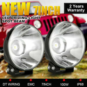 Pair 7inch OSRAM SPOT LED Driving Lights Headlights REPLACE HID XENON Cable Kit