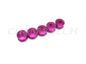New MTB Road Bike Alloy 7075 Single Speed 6.5mm Chain Ring Bolt Nut Set Hot Pink