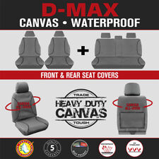 Isuzu D-Max DMax Dual Cab 2012-On TRADIES Front & Rear Grey Canvas Seat Covers