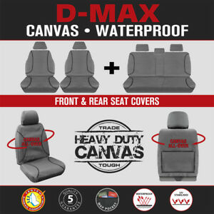Isuzu D-Max DMax Dual Cab 2012-6/20 TRADIES Front & Rear Grey Canvas Seat Covers