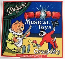 """Batger's 30-40's Art Deco English Label for """"Crackers"""" Poppers w/ Cat & Banjo *"""