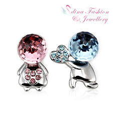 18K White Gold Filled Made With Swarovski Element Sweet love Stud Earrings
