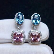 6Ct Oval Aquamarine Rhodolite Simulant Diamond Dangle Earrings Silver Gold Finsh