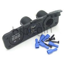 Boat Outlet Jack Triple Power 12V + 3.1 Amp USB Charger + Volmeter Socket Panel