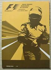 Español Grand Prix Formula One F1 2003 Catalunya Programa Oficial