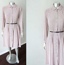 Polka Dot Vintage 70s 80s Faux Pearl Button Secretary Spandex Midi A Line Dress