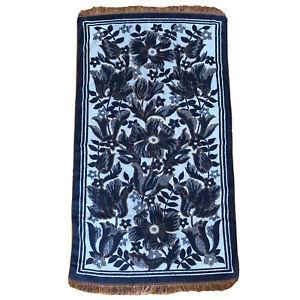 Vintage MCM Bath Towel Flowers Navy Blue Orange Floral Fringe Retro Cotton