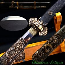 Dragon sword Tang Dao Traditional Refinings pattern steel w Clay temped #3958