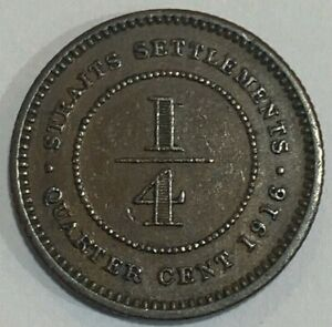 1916 Straits Settlements ¼ Cent - George V Coin