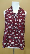 Modcloth Homemade Pasta Party Top SMALL Pink Owl Burgundy Elephant Print