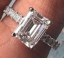 Emerald Cut Diamond Engagement Ring - E VS2 Set In -Platinum-Diamonds Down Shank