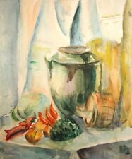 Vintage watercolor painting still life with vegetables, pot and basket