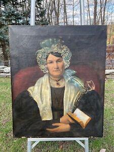 Antique American Folk Art Portrait Of A Woman Holding Book c.1820 by John Blunt