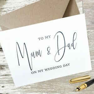 To Mum & Dad on My Wedding Day Card Calligraphy Style inc with Kraft Envelope A5