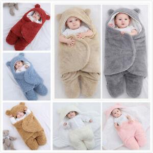 Newborn Baby Infant Sleeping Bag Hooded Swaddle Fleece Wrap Blanket