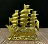 Chinese Fengshui copper carve money coin Ship Boat Statue Bring wealth Good luck