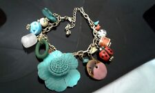 Silver Ladybug Flower Hat Blue Charm Metal Link Chain Fashion Bracelet