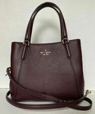 New Kate Spade Jackson Medium Triple compartment Satchel Leather Dark Cherry