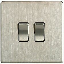 Sector Sfbs42 Stainless Steel 10ax Plate Switch 2 Gang 2-way Screwless 1st