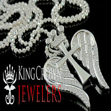 Cross Wings Pendant Chain White Gold Silver Round Pave Crown Charm Lab Diamond