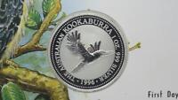 Australia 1996 Silver Kookaburra 1oz Dollar & FDC Cover FDC 999 Fine Silver