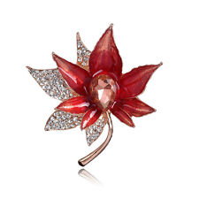 White Rhinestone Glass KC Gold Red Maple Shaped Banquet Party Brooch Pin Gift