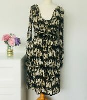 JIGSAW Dress Size Small BLACK CREAM | Drape Front WORK Print PARTY occasion