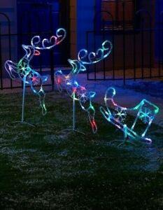 Acrylic Colour Changing LED Reindeer & Sleigh Set Christmas Multi Lights Outdoor