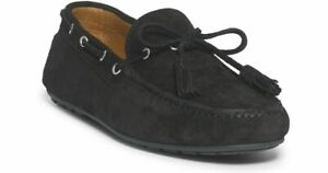 Ralph Lauren Italy Mens Harold Charcoal Leather Suede Tassel Loafer Driver Shoe
