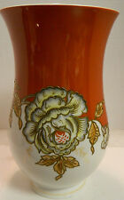 """Vintage Embossed Hand Painted Schaubach Kunst Floral Vase 9.25"""" x 5.75"""" Excell"""