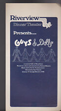 Guys & Dolls 1978 Program Riverview Dinner Theatre Rochester NY