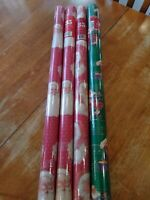Lot of 4 Vintage Rolls Santa Christmas Wrapping Paper New  SEALED