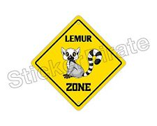"*Aluminum* Lemur Crossing Funny Metal Novelty Sign 12""x12"""