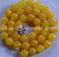 natural 12mm Faceted South American Yellow Topaz Gemstone Necklace 18 inches