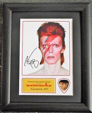 David Bowie Preprinted Autograph & Guitar Pick Display Mounted & Framed #2