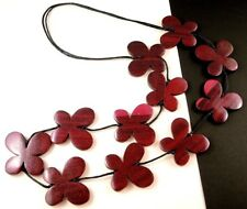 1 Hand Carved & Painted Crimson Pink Wood Butterflys Dangle Necklace - # B231