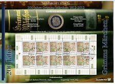 10 € Sammlermünze 2012 + Briefmarken, 200 Jahre Grimms Märchen